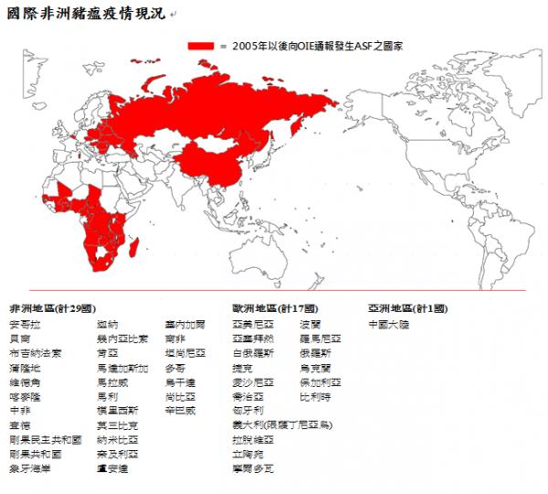 國際非洲豬瘟疫情現況。(圖擷自農委會防檢局官方網站)
