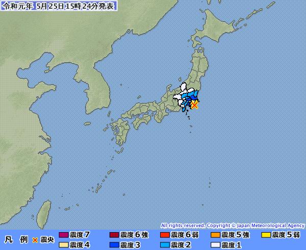日本千葉縣南部發生芮氏規模5.1地震。(圖擷自日本氣象廳)