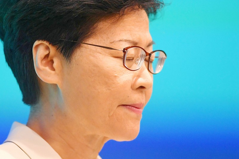 Hong Kong Chief Executive Carrie Lam pauses as she speaks to a news conference at the government's headquarters yesterday. Photo: AFP