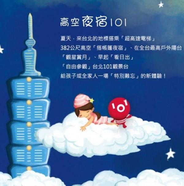 「高空夜遊101」露營活動,讓民眾能夠體驗在高樓上觀星、看夜景和賞日出。(圖擷取自台北101觀景台臉書)