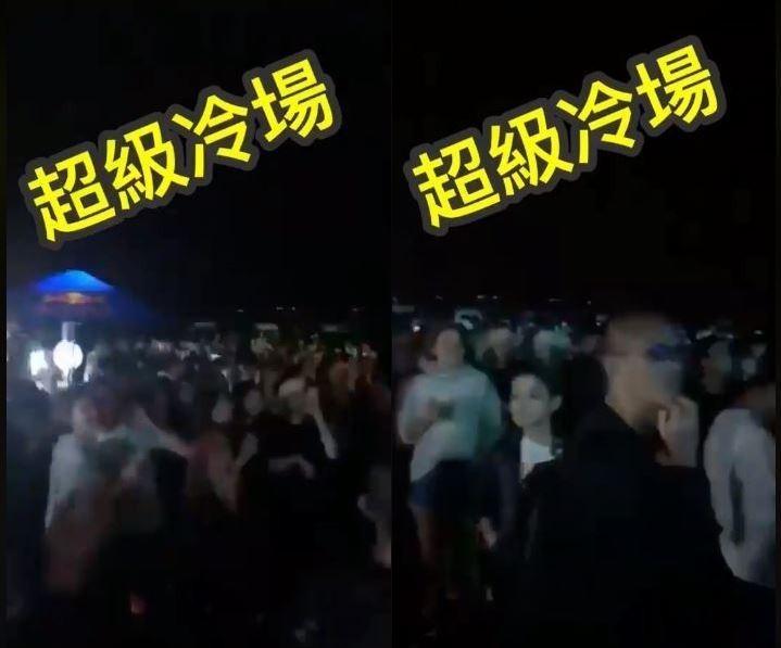 有網友前往高雄旗津滿月趴現場,並拍攝現場影片給了「超級冷場」的評語。(圖擷取自臉書粉專「只是堵藍」)