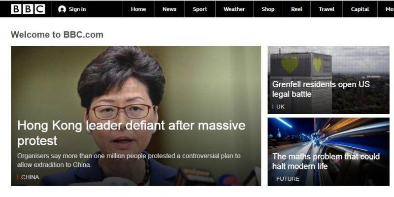 昨(9)日逾百萬香港民眾上街遊行抗議,香港特首林鄭月娥今上午會見媒體回應此事件,不過,外媒英國廣播公司(BBC)頭條報導指稱,她堅持認為「該法律是必要的,且人權保障已經到位」。(圖擷取自BBC官網)