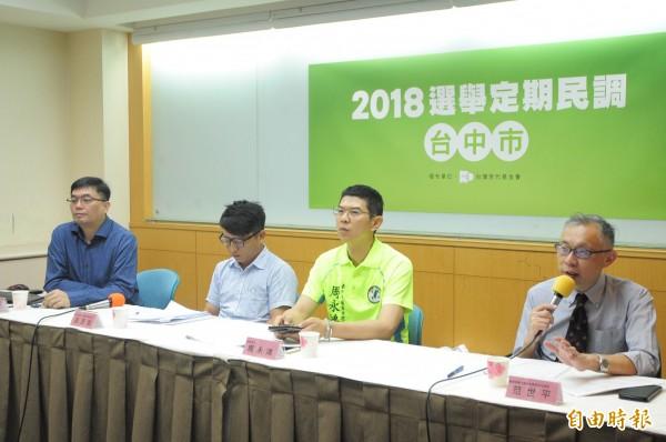 台灣世代智庫舉行「2018台中市長選舉民調」記者會,民調結果林佳龍支持度百分之42,盧秀燕支持度為百分之33.5,兩人差距8.5百分點。(記者王藝菘攝)