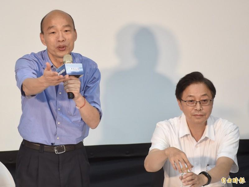 國民黨總統參選人韓國瑜(左)、國政顧問團總召張善政(右)等17日舉辦記者會,宣示國政顧問團正式成軍啟動並答覆媒體提問。(資料照)