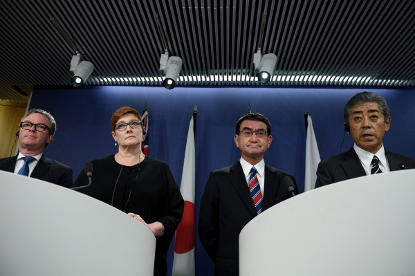日本和澳洲在10日進行的外交和國防「2+2部長級會談」中確認,兩國將加速簽訂軍事互訪協定。(路透)