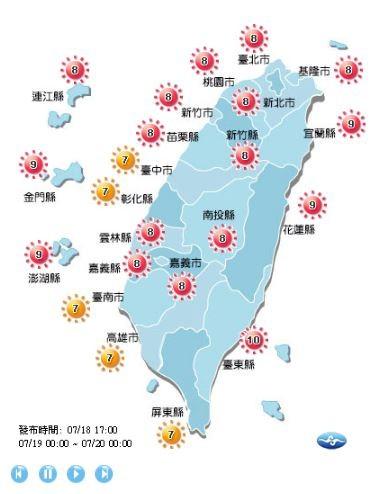明天除了台中、彰化、台南、高雄、屏東是「高量級」以外,其他地區皆到達「過量級」。(圖擷取自中央氣象局)