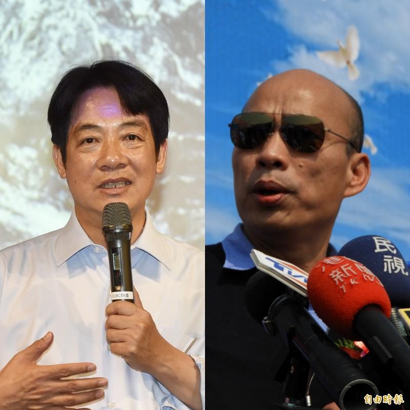 網友認為,賴清德(左)、韓國瑜(右)若不在2020拉抬聲勢,四年後恐沒戲分。(本報合成,記者黃耀徵、葛祐豪攝)