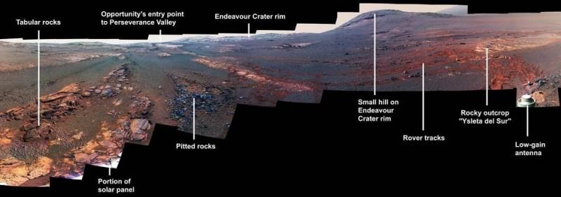 NASA將機會號回傳的原始影像,針對色彩項目進行後製,以利辨別不同地質。(擷取自NASA)