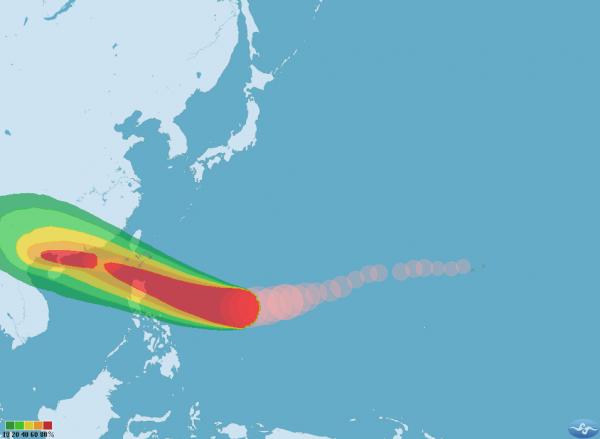 第22號強烈颱風「山竹」持續朝西北西方向移動,估計週五晚間至週六最接近台灣;而第23號輕度颱風「百里嘉」,目前對台灣無影響。(圖擷取自中央氣象局)