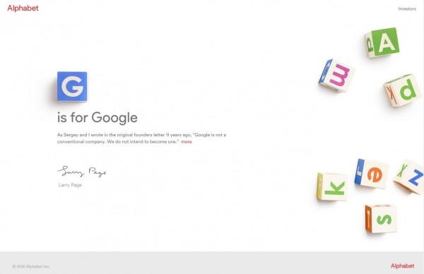Alphabet網站只有一篇創辦人佩奇以「G is for Google」為題的公開信。(圖擷取自Alphabet網站)