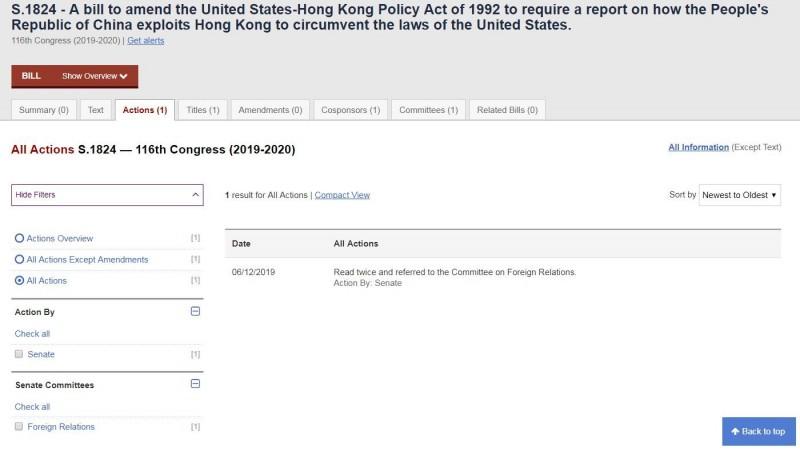 美國參議員克魯茲已提案,要求國務院報告,並考慮修正《美國-香港政策法》。(圖擷取自美國國會官網)