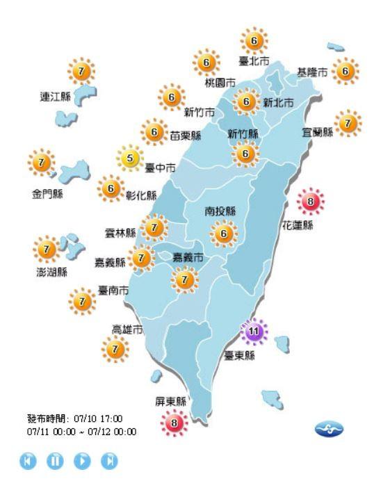 台東地區紫外線指數達11級(危險級),受到颱風環流影響,中午之後盛行西南風,有焚風發生的機率,提醒民眾注意。(翻攝自中央氣象局)