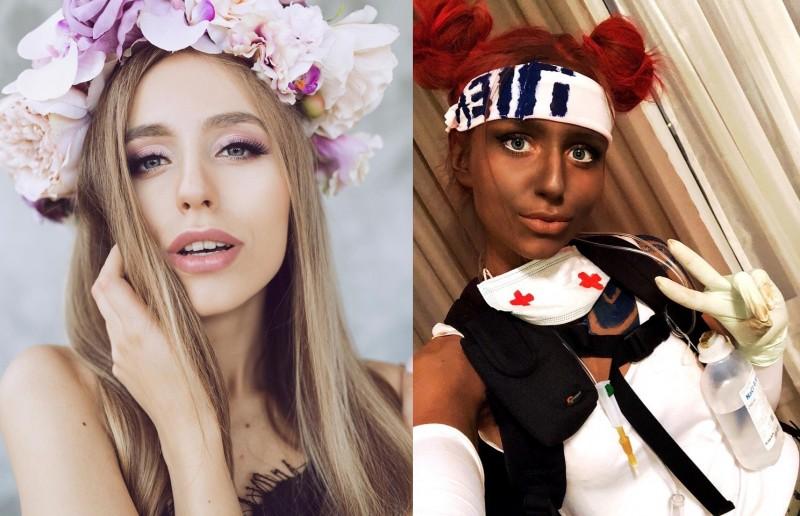 立陶宛實況主卡魯溥絲在直播中Cos黑人遊戲角色,卻在塗黑皮膚時被Twitch封鎖,直播因此中斷。(圖擷取自karupups@IG和俄羅斯VK論壇)