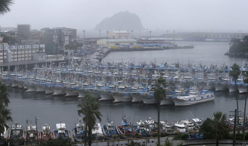 颱風玲玲即將襲韓,漁民將漁船聚集在港口綁好。(美聯社)