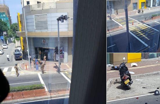 斯里蘭卡連環爆死亡人數攀升359人,今日於首都一家電影院外的機車,再傳出爆炸。 (圖擷自推特)
