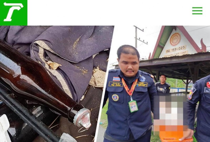 這名男子今日被發現陳屍涼亭,身旁還放著榴槤的空盒跟喝光的酒瓶。(圖擷自thai rath)