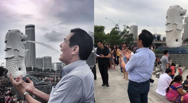 馬英九到訪新加坡,開心與當地著名地標合影。(圖擷取自馬英九臉書)