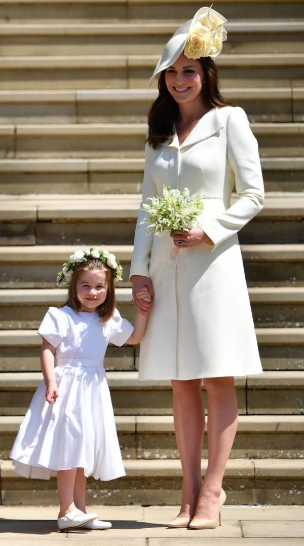 夏綠蒂小公主今年5月擔任梅根婚禮的花童。(法新社)