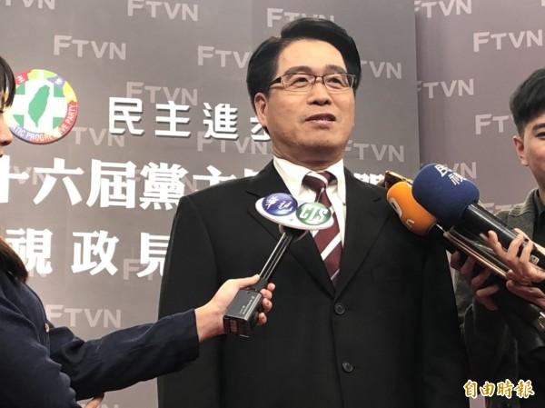 游盈隆在政见会中首度说,未来若担任民进党主席,将尽速处理党代表对前总统陈水扁的连署特赦案。(记者彭琬馨摄)