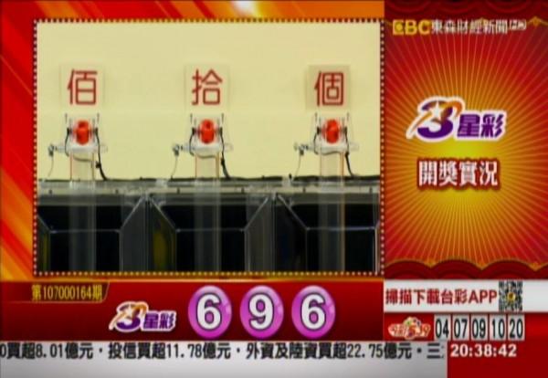 3星彩開獎號碼。(圖擷取自東森財經新聞)