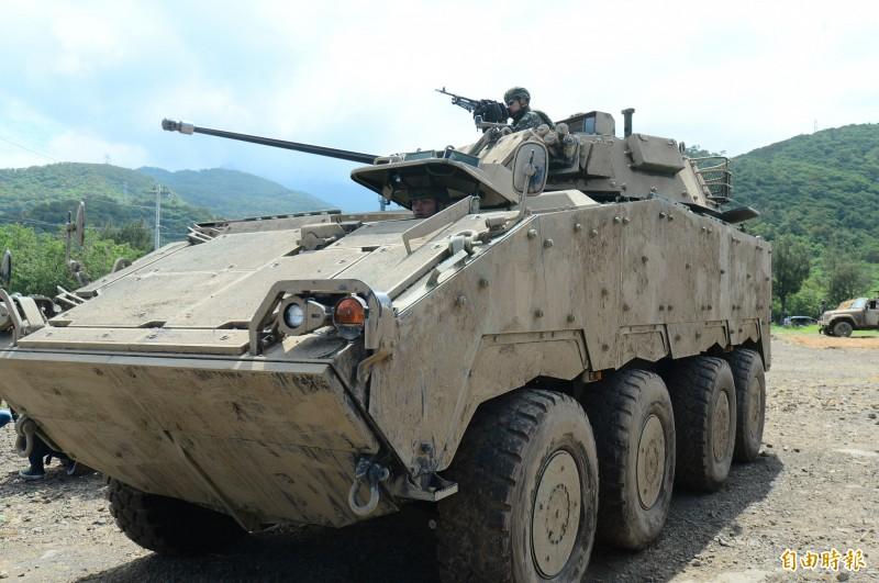 今年5月30日的「聯合灘岸殲敵作戰」實彈射擊 ,CM34雲豹30鏈砲甲車第一次亮相。(資料照)