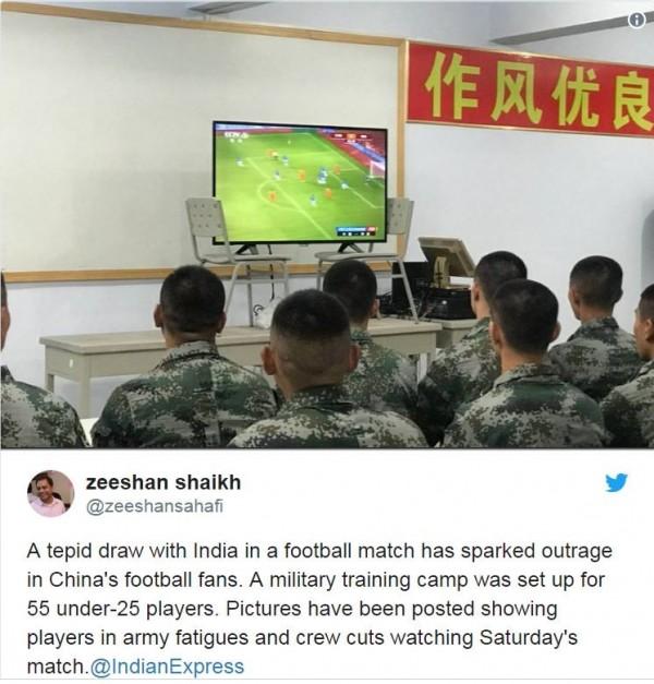 中國足協日前宣布成立「國家足球集訓隊」,中選的55名球員需受80天軍事訓練。(圖擷自推特)