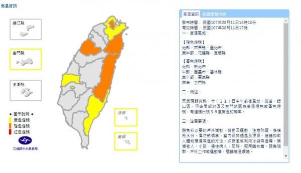 中央氣象局在今天下午2點10分,針對9縣市發布高溫資訊。(圖片擷取自中央氣象局)