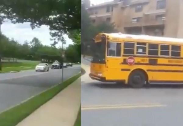 加拿大校車開至社區停下,從車身側邊打開「STOP(停止)」標誌,往來車輛見狀均停下等候。(圖擷取自影片)