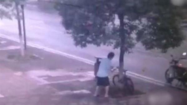 為偷鎖在樹上的自行車,中國一男子乾脆將行道樹整棵鋸斷。(影片截圖)