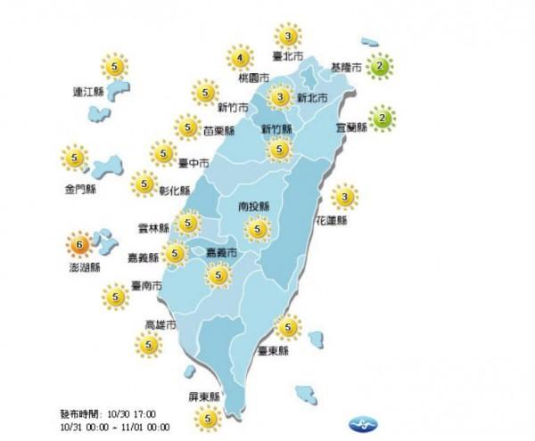 明日基隆、宜蘭地區達低量級,其餘地區達中量級以上,澎湖縣達高量級,30分鐘恐曬傷,外出記得防曬,多補充水分。(圖擷取自中央氣象局)