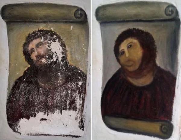 有人将「修复」过的耶稣像形容为「猴子基督」。(法新社)