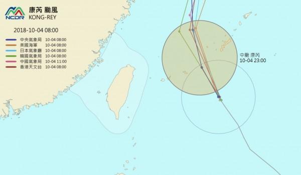 預計今深夜,康芮距離台灣最近,暴風圈可能不會碰觸到台灣陸地及近海,發布海警機率低。(NCDR 天氣與氣候監測)