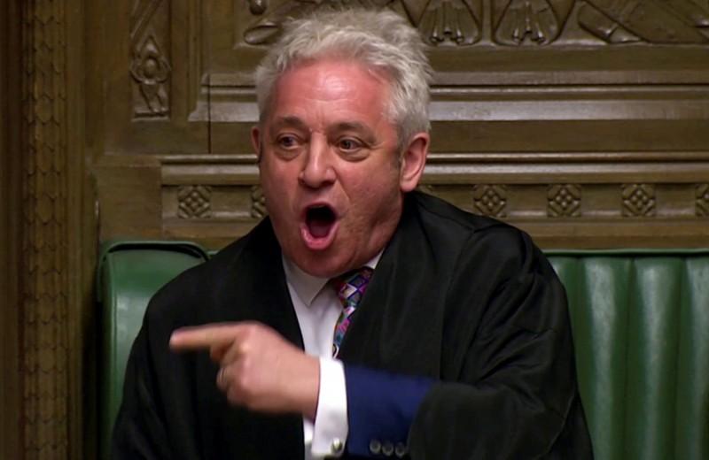英國下議院議長貝爾考(John Bercow)今日表示將會「拚死」阻止強硬脫歐。(路透)