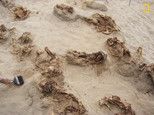 多達140具以上的幼童骨骸,學者推測應是在獻祭儀式中犧牲。(美聯社)