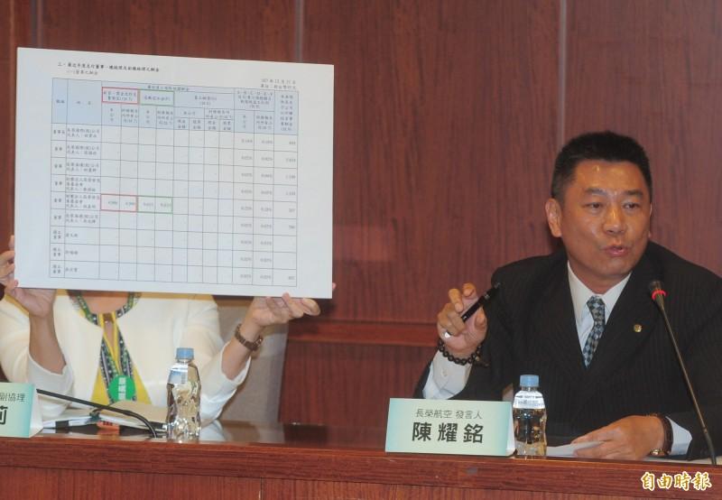 長榮航空發言人陳耀銘重申絕對不會在勞工董事、禁搭便車議題退讓。(記者王藝菘攝)