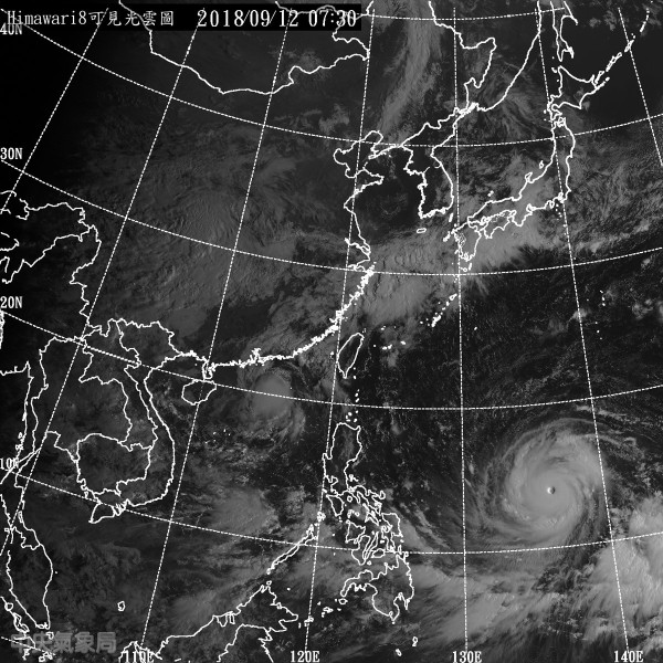 提到「山竹」移動路徑,賴忠瑋表示過去兩天的預報路徑略向南偏,主要原因在於太平洋高壓持續強勢。(圖擷取自中央氣象局)