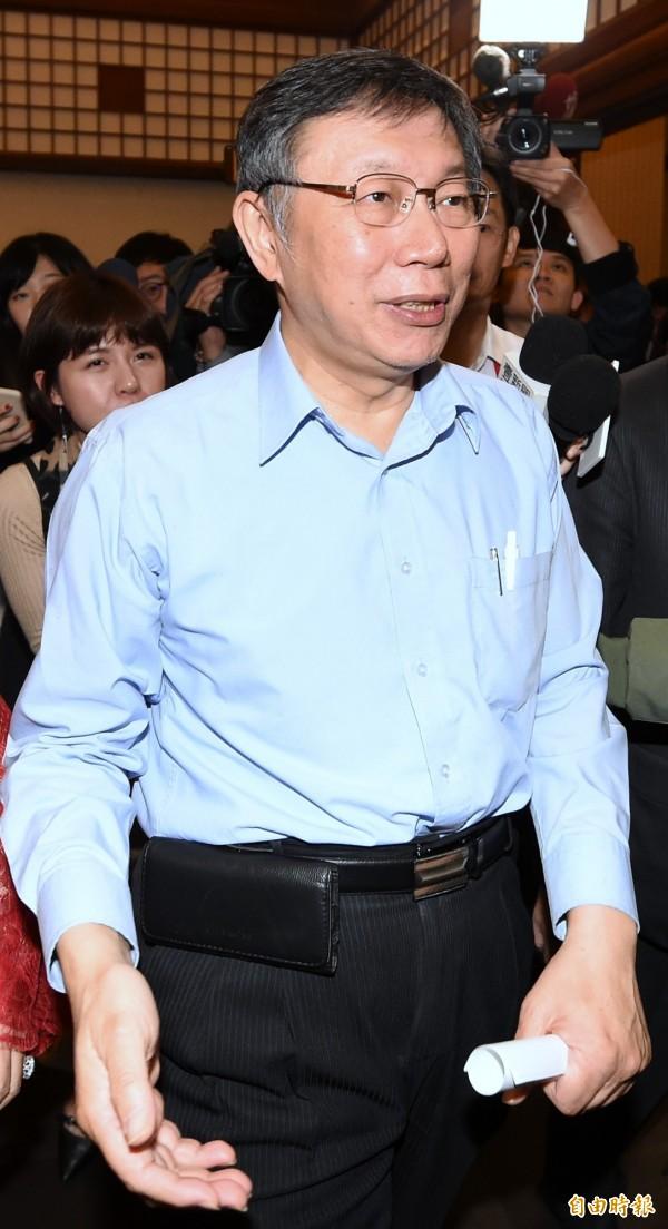 台北市长柯文哲说,不能说人家一次失败,就什么都不能做,他认为苏贞昌也是老经验,应该上任马上就上手。(资料照)