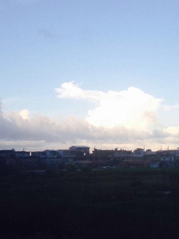 從照片中可以清楚看見,湛藍的天空中,乍現一朵與龍頭極為相似的雲朵,除了龍頭外還帶有龍身。(圖擷取自爆料公社)
