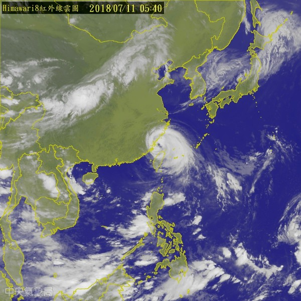 中颱「瑪莉亞」暴風圈籠罩台灣中部以北陸地,各地風雨持續中,但預計瑪莉亞颱風強度有減弱趨勢。(圖擷取自中央氣象局)