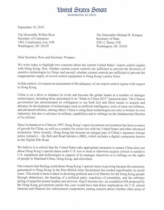 美國共和黨參議員魯比歐與多位跨黨派參議員聯署去信給美國副總統彭斯以及商務部長羅斯,要求政府重新檢討出口至香港的制度。(圖擷取自推特_@SenRubioPress)