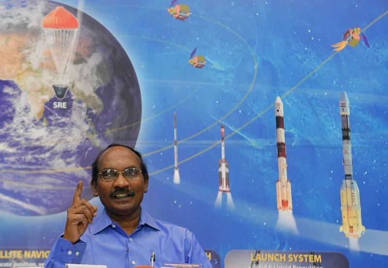 印度太空研究組織(ISRO)宣布7月啟動登月計畫,圖為主席席萬。(法新社)