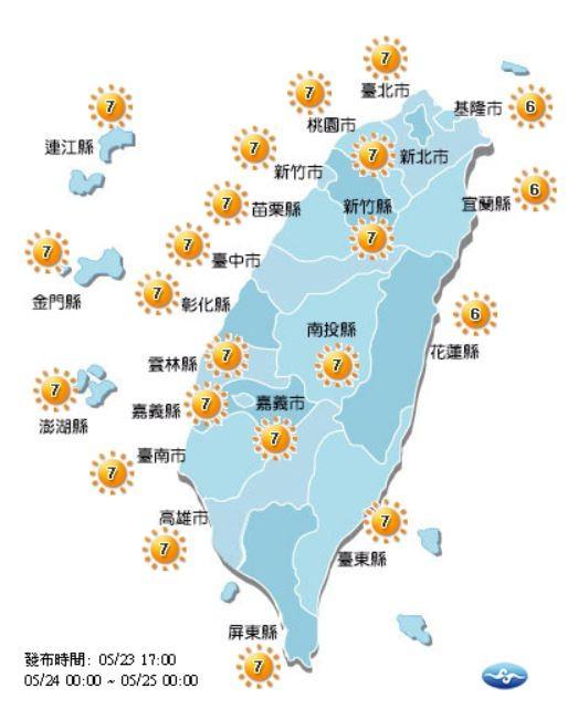 紫外線方面,明全台各縣市為「高量級」,外出30分鐘內恐曬傷,提醒民眾做好防曬。(圖擷取自中央氣象局)