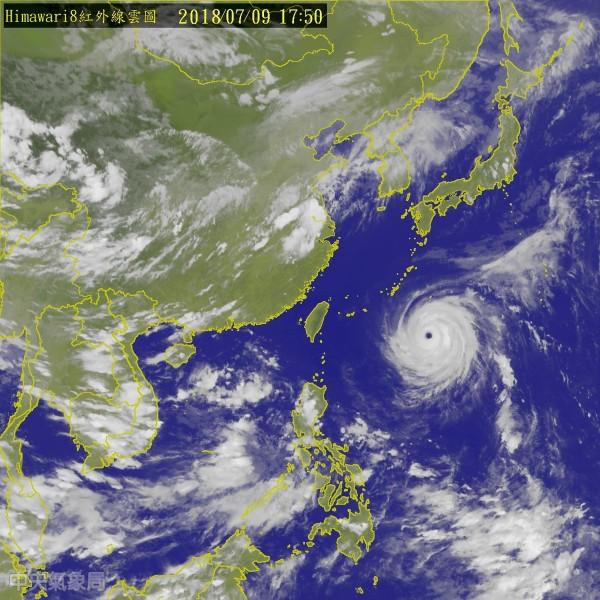 目前強颱瑪莉亞正以時速30公里向西北西進行,氣象局已於下午2點半開始,持續發布海上警報,各地方政府也將陸續公布明日上班上課情形。(圖擷取自中央氣象局)