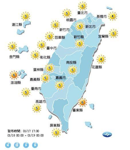 紫外線方面,除了台東縣及澎湖縣為高量級,其餘全台都是中量級。(圖擷取自中央氣象局)