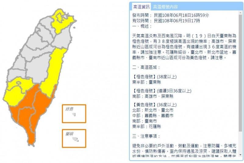 氣象局持續發布高溫資訊,包含台東為有38度極端高溫出現機率的橙色燈號,高雄、屏東為連續3日出現36度以上高溫的橙色燈號,台北、新北、嘉義縣市、台南、花蓮等,皆為有連續出現36度高溫機率的黃色燈號。(圖擷取自中央氣象局)