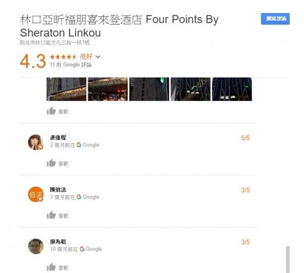 現在林口亞昕福朋喜來登的Google評價為4.3顆星,評論留言僅有11則。(圖擷取自Google)