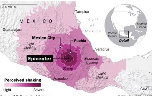 墨西哥中部發生規模7.1強震。(取自《華盛頓郵報》)