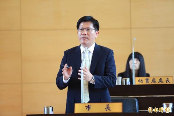 台中市長林佳龍表示,北捷的報告「不知道檢討了什麼」,他呼籲北捷提出實質報告,並到台中市議會列席報告。(記者張菁雅攝)