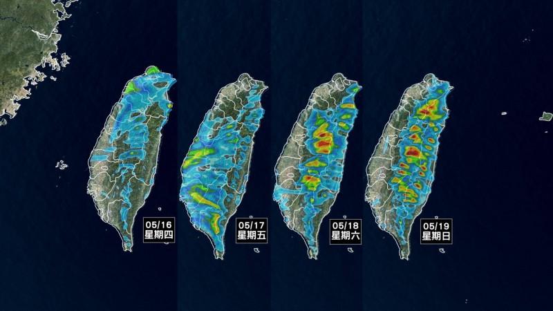 臉書專頁《天氣風險》今發一張圖,說明未來四天全台雨勢。(擷取自天氣風險公司臉書)