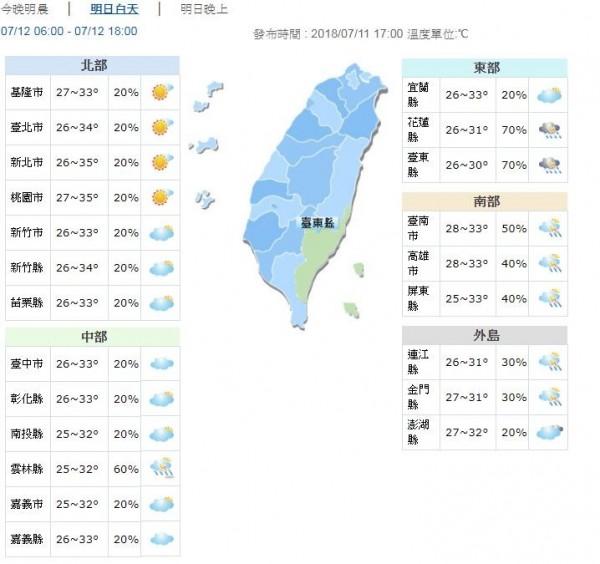 明天(12日)受南方雲系北移影響,花、東地區及恆春半島整天不定時有陣雨或雷雨,而且可能有局部大雨發生,南部及宜蘭也會有局部短暫陣雨。(圖擷取自中央氣象局)